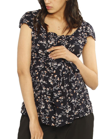 Petal Front Short Sleeve Nursing Top  - Cross Navy Print