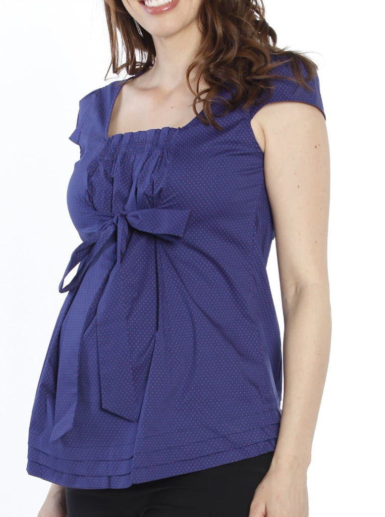 Sweet Tie Front Maternity Top in Navy & Pink Spots - Angel Maternity - Maternity clothes - shop online