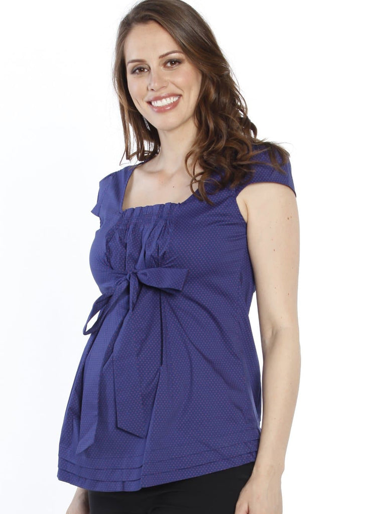 Sweet Tie Front Maternity Top in Navy & Pink Spots side