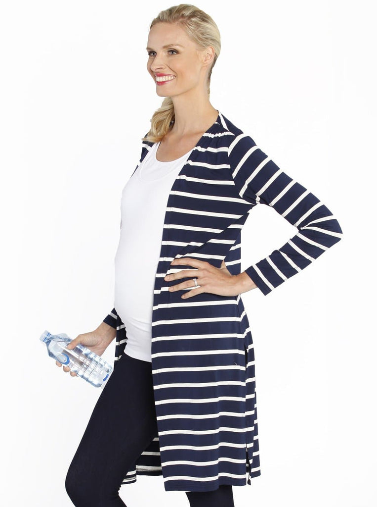 Maternity Long Lounge Cardigan in Navy Stripes - Angel Maternity - Maternity clothes - shop online