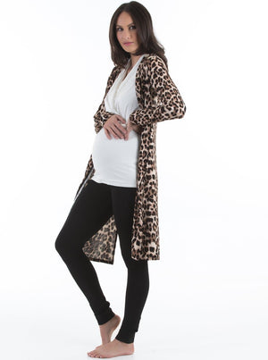 Maternity Long Lounge Cardigan in Animal Print