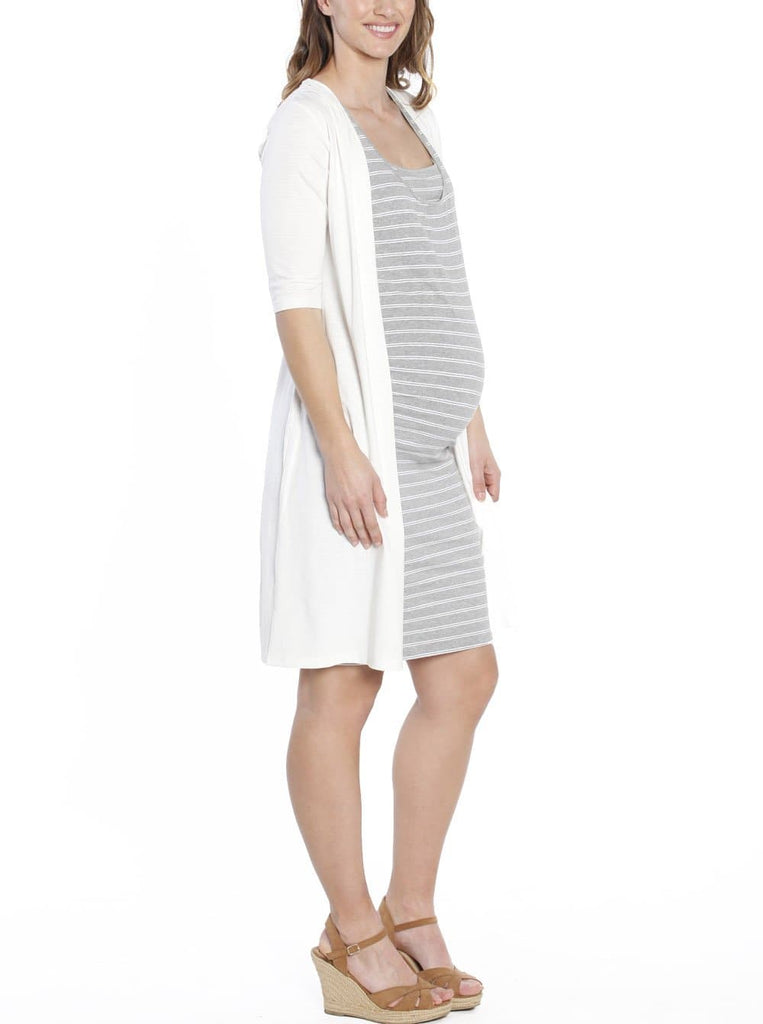 Maternity Long Lounge Cardigan in White - Angel Maternity - Maternity clothes - shop online