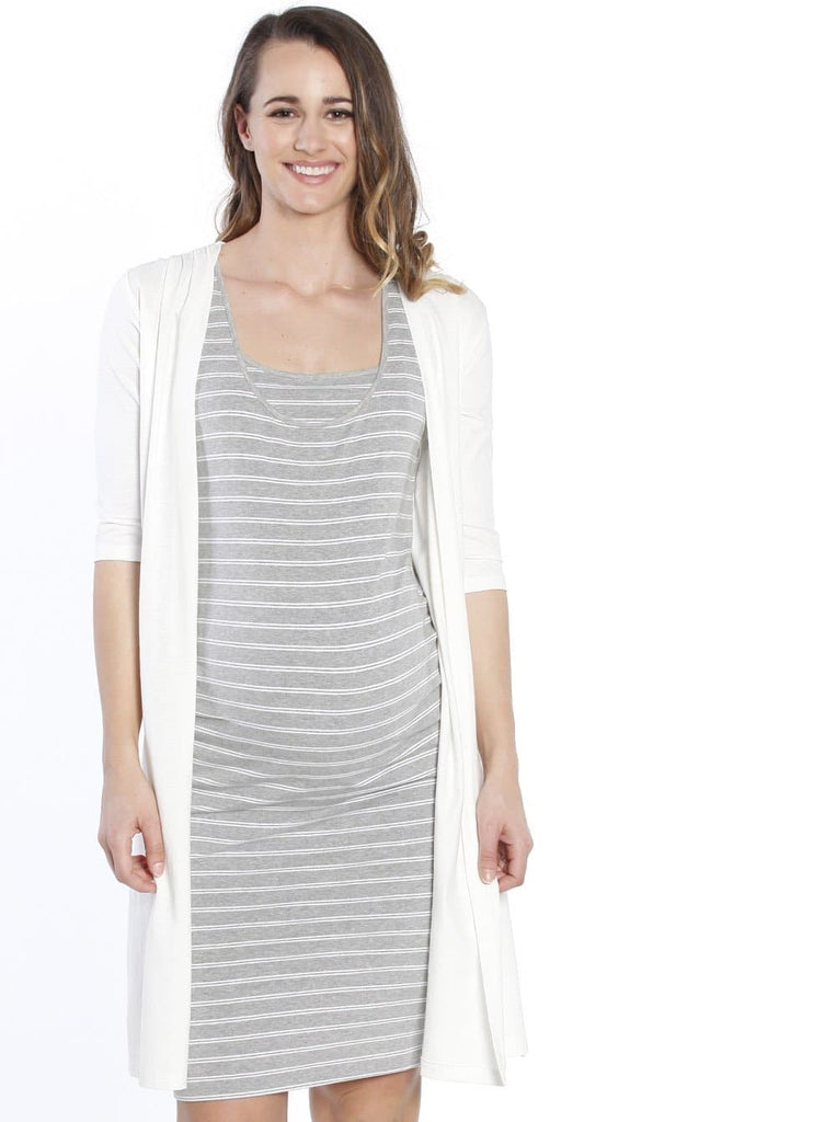 Maternity Long Lounge Cardigan in White