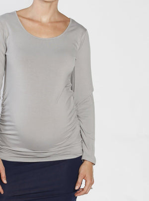 Ruby Joy Bamboo Body Hugging Maternity Long Sleeve Tee - Grey front
