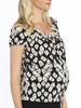 Maternity Round Neck Work Top - Black & Cream Print