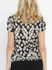 Maternity Round Neck Work Top - Black & Cream Print back