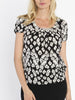 Maternity Round Neck Work Top - Black & Cream Print front
