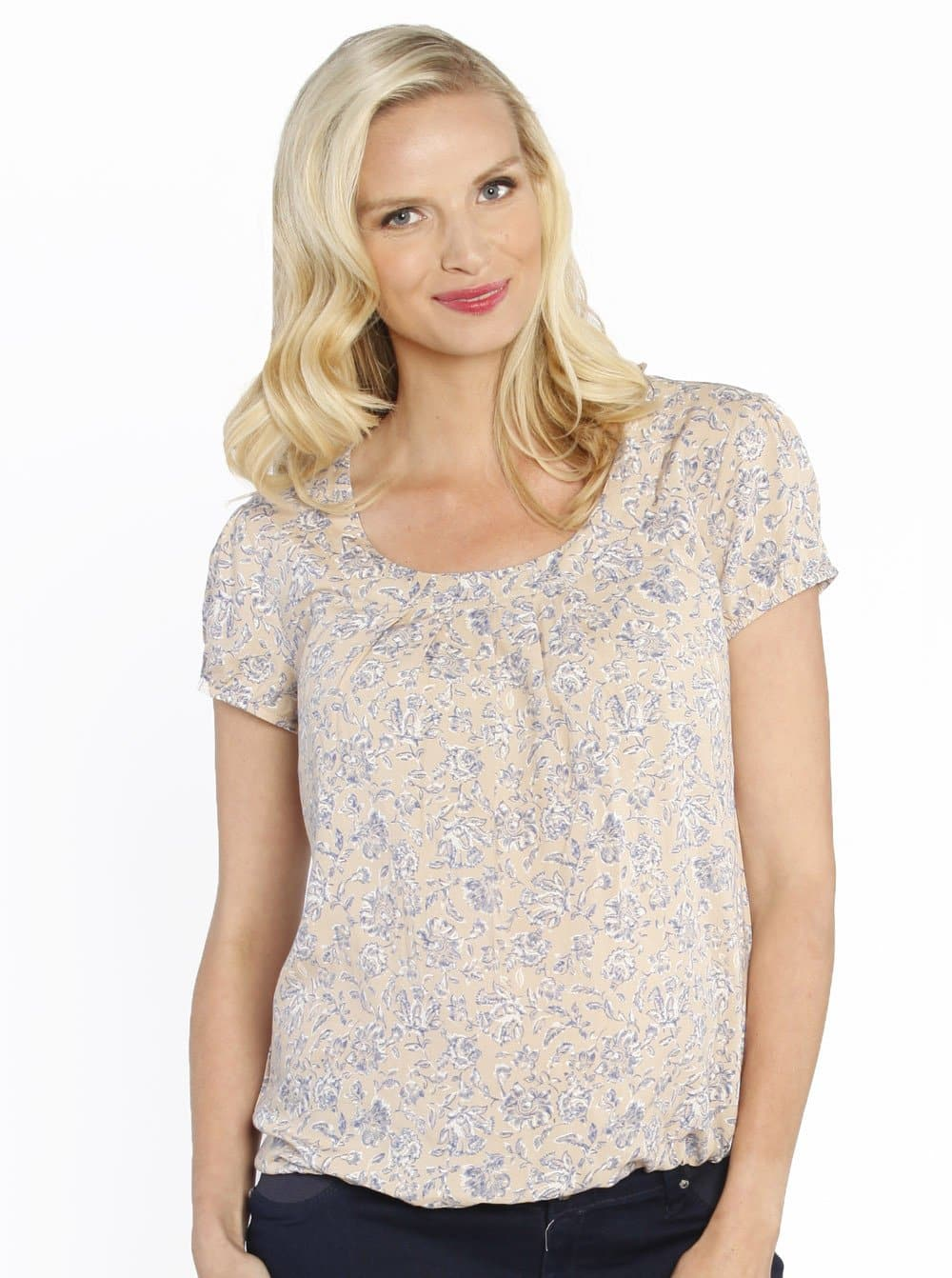 Maternity Round Neck Top - Blue Flowers In Beige