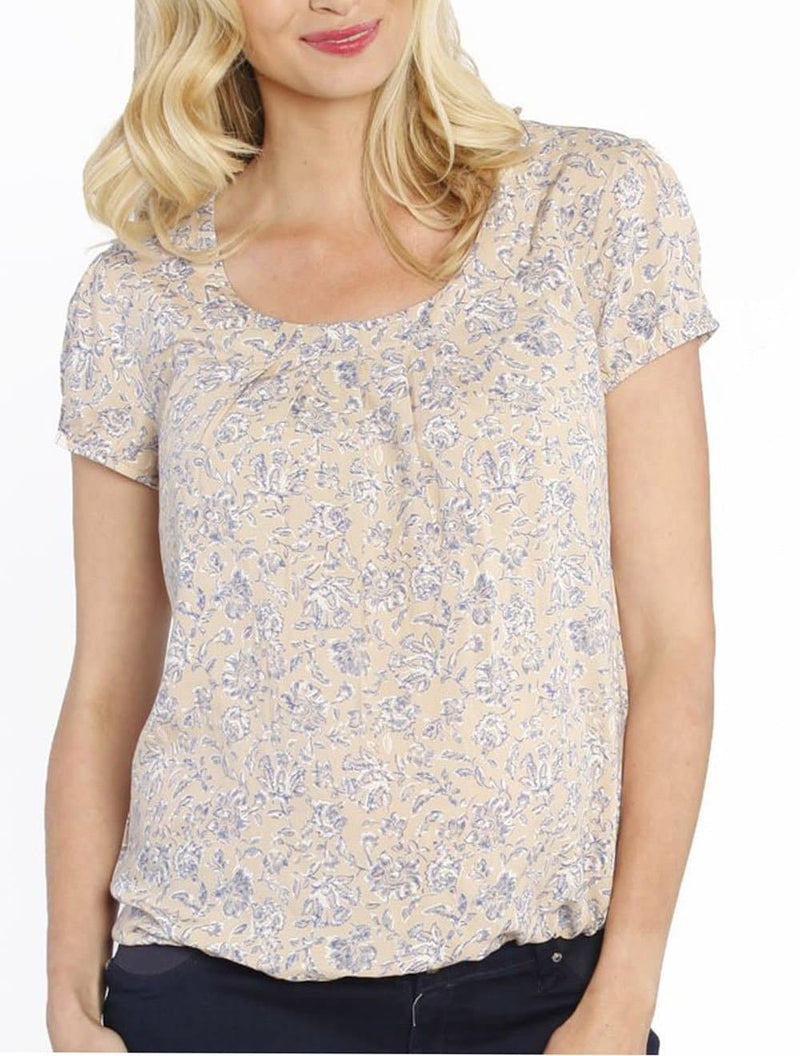 Maternity Round Neck Top - Blue Flowers In Beige - Angel Maternity - Maternity clothes - shop online