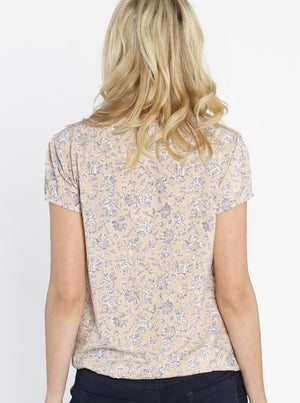 Maternity Round Neck Top - Blue Flowers In Beige back