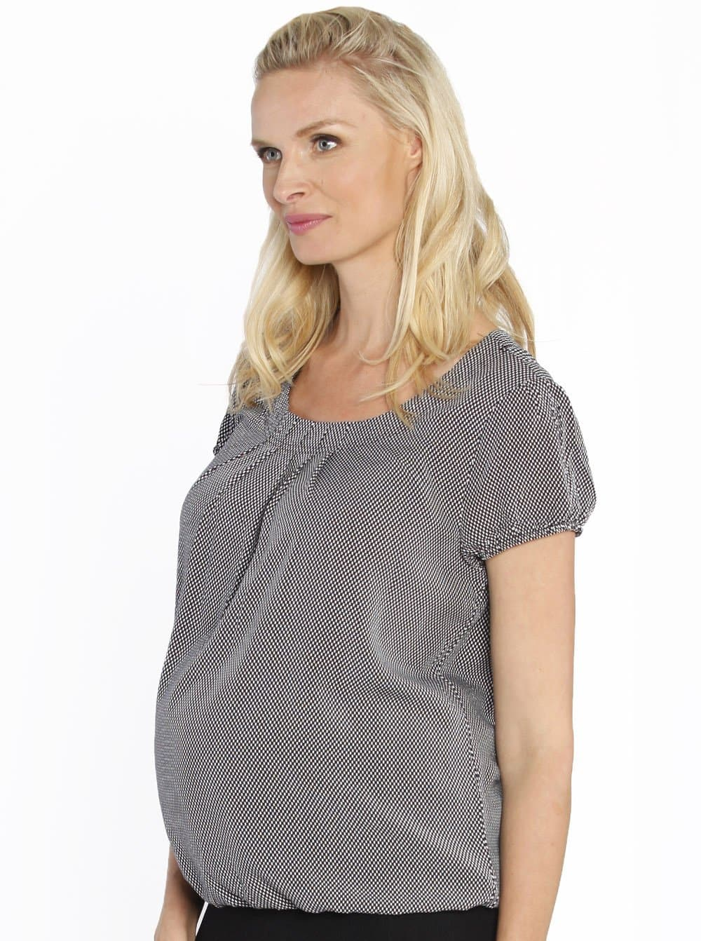 Maternity Round Neck Work Top - Black & White Checkered