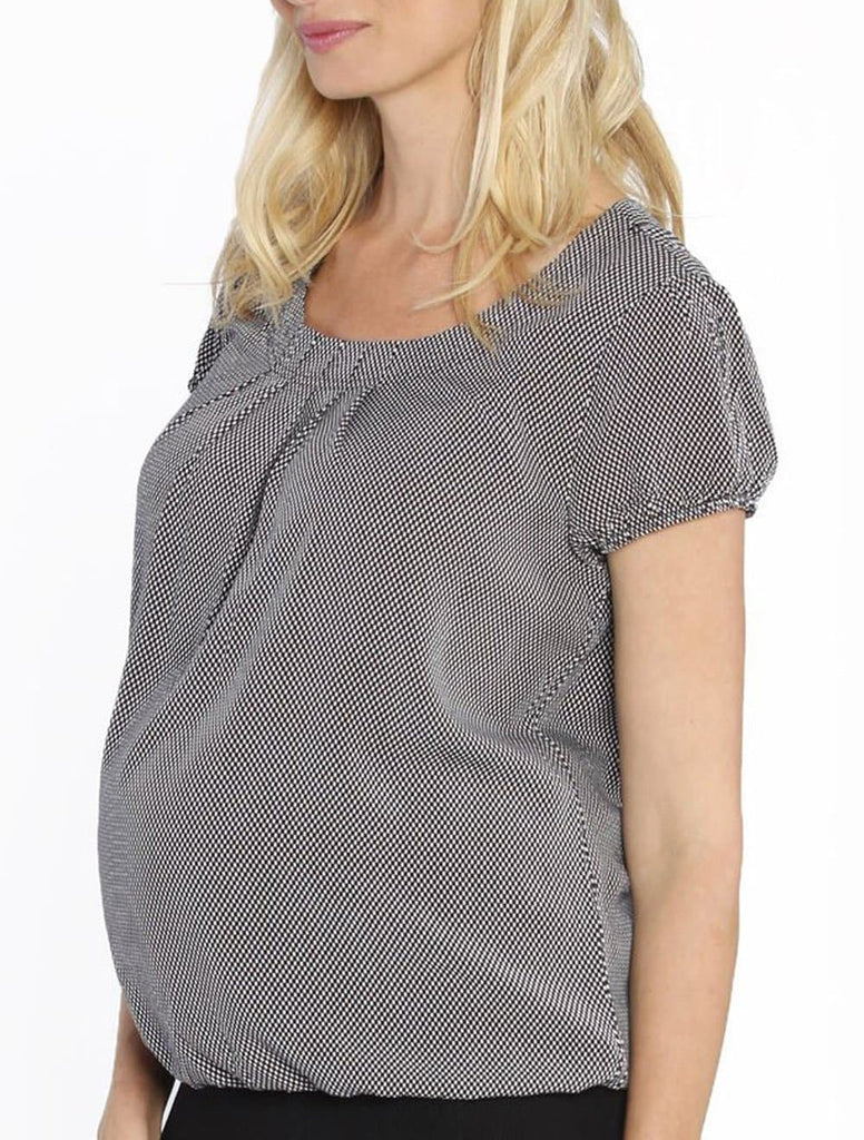 Maternity Round Neck Work Top - Black & White Checkered - Angel Maternity - Maternity clothes - shop online