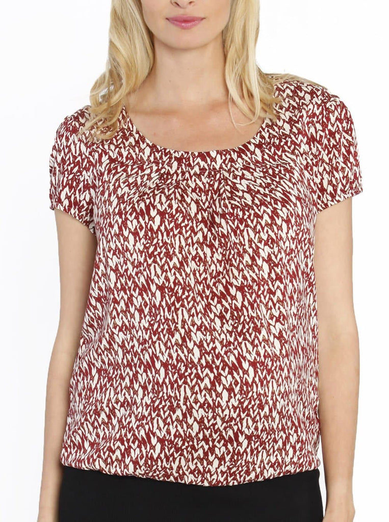 Maternity Round Neck Work Top - Red Print