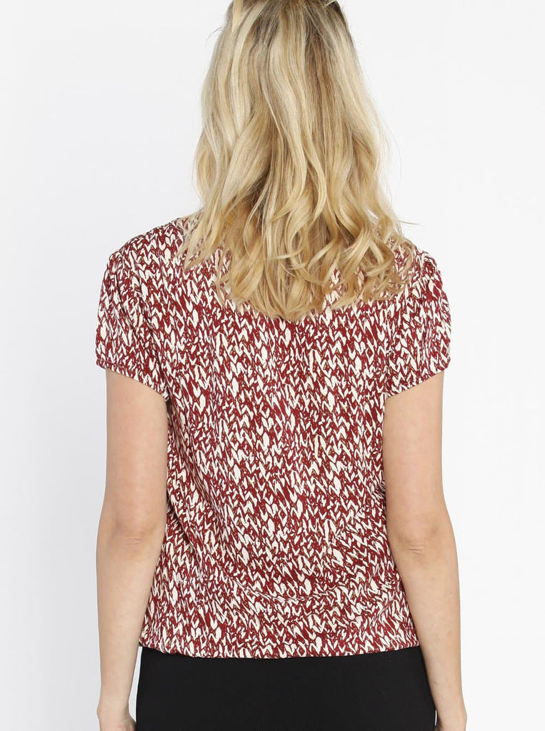 Maternity Round Neck Work Top - Red Print back