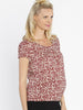 Maternity Round Neck Work Top - Red Print side