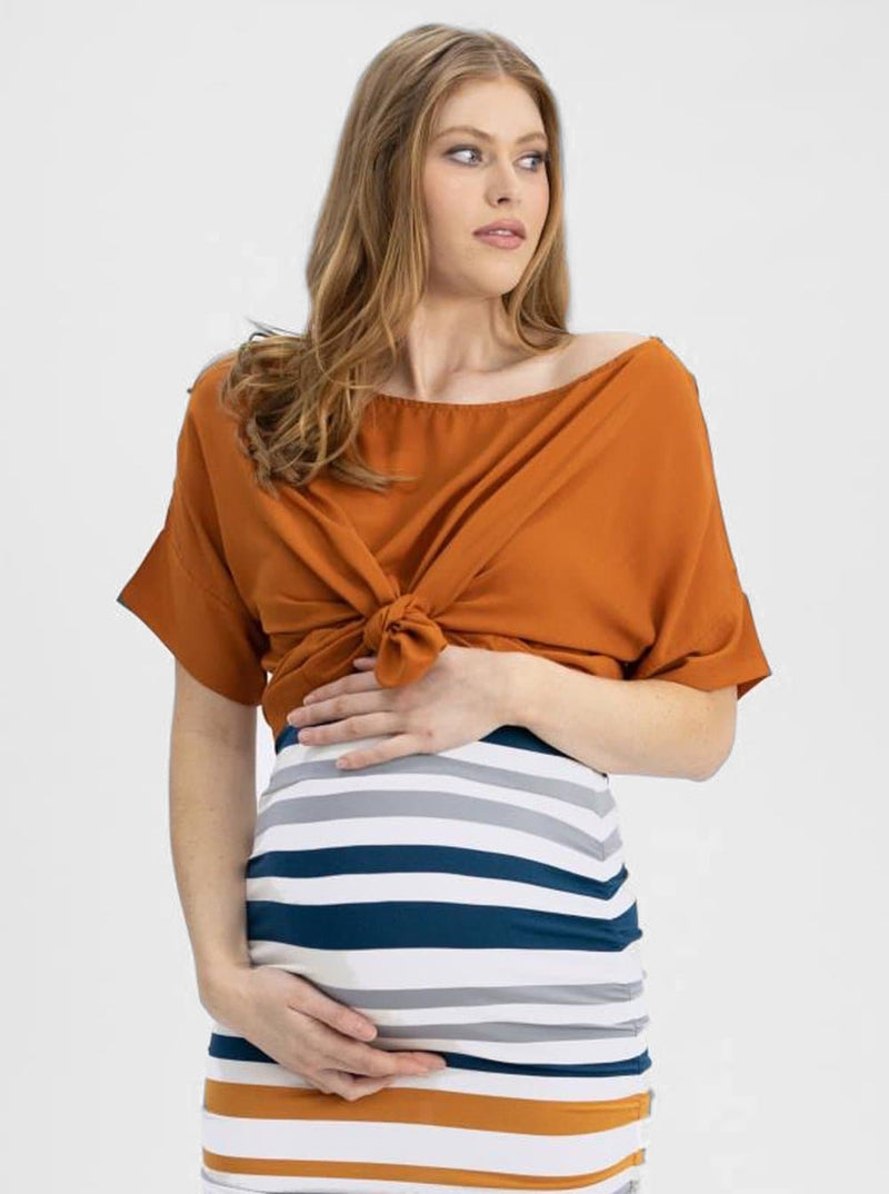 Maternity Relax Fit Short Sleeve Top - Rust