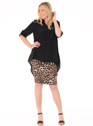 Maternity Oversize High Low Button Tunic Top