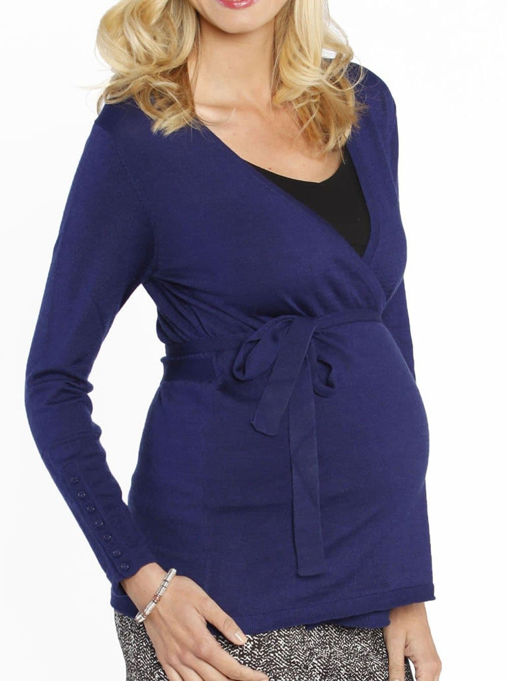 Maternity Lightweight Wool Wrap Cardigan with Tie Waist - Blue