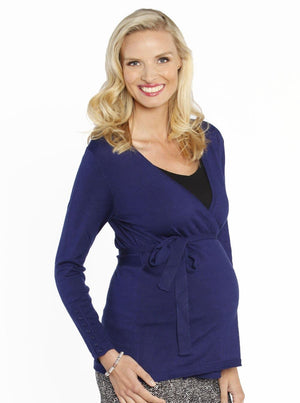 Maternity Lightweight Wool Wrap Cardigan with Tie Waist - Blue - Angel Maternity - Maternity clothes - shop online