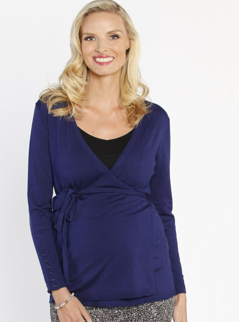 Maternity Lightweight Cardigan - Blue Front