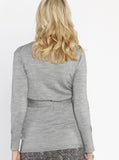 Maternity Lightweight Wool Wrap Cardigan with Tie Waist - Grey - Angel Maternity - Maternity clothes - shop online