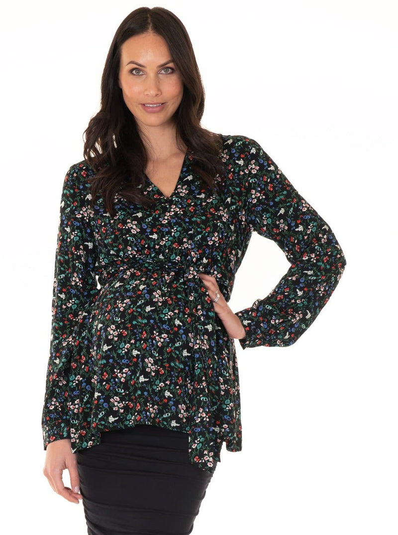 Maternity Zipper Front Work Top - Wild Flowers special occasion blouse