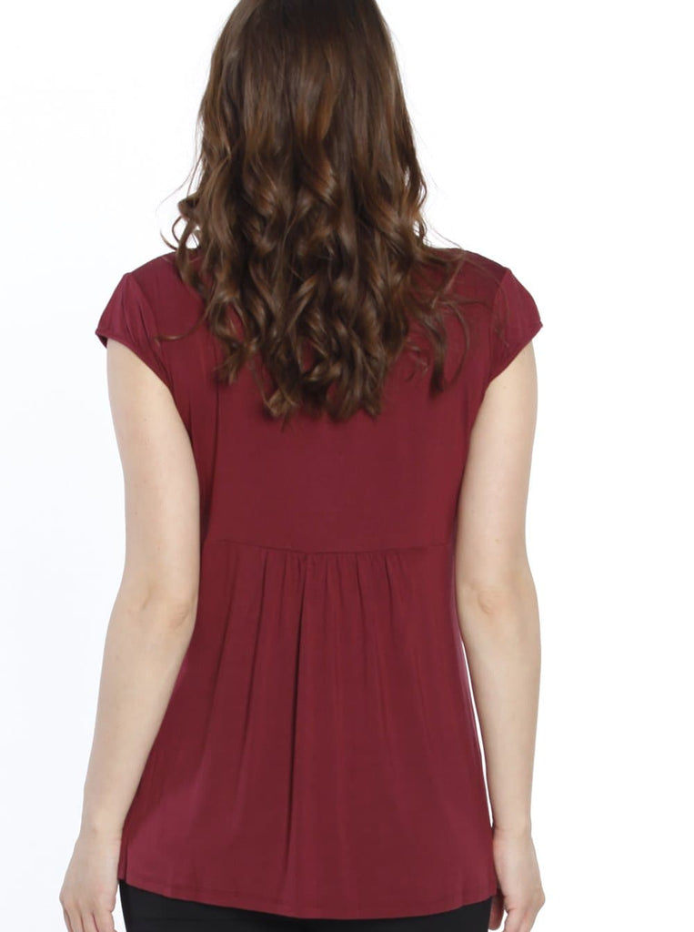 Maternity Gathered Front Top - Red Wine back