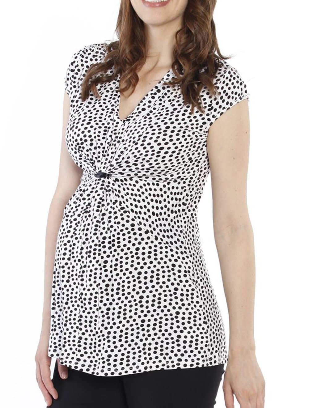 Maternity Gathered Front Top - White & Black Dots - Angel Maternity - Maternity clothes - shop online