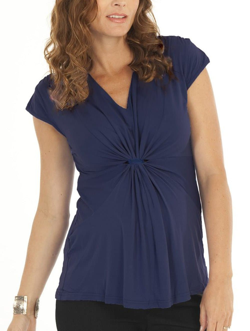 Maternity Gathered Front Top - Navy - Angel Maternity - Maternity clothes - shop online