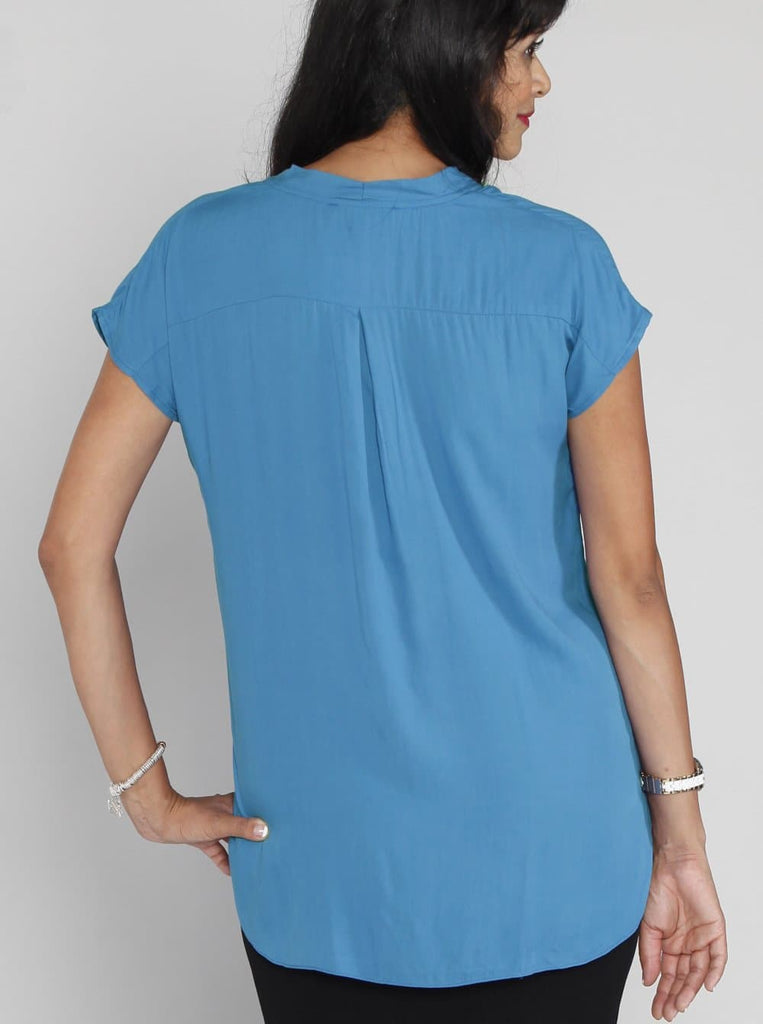 Relax Fit Short Sleeve Blouse - Light Blue - Angel Maternity - Maternity clothes - shop online