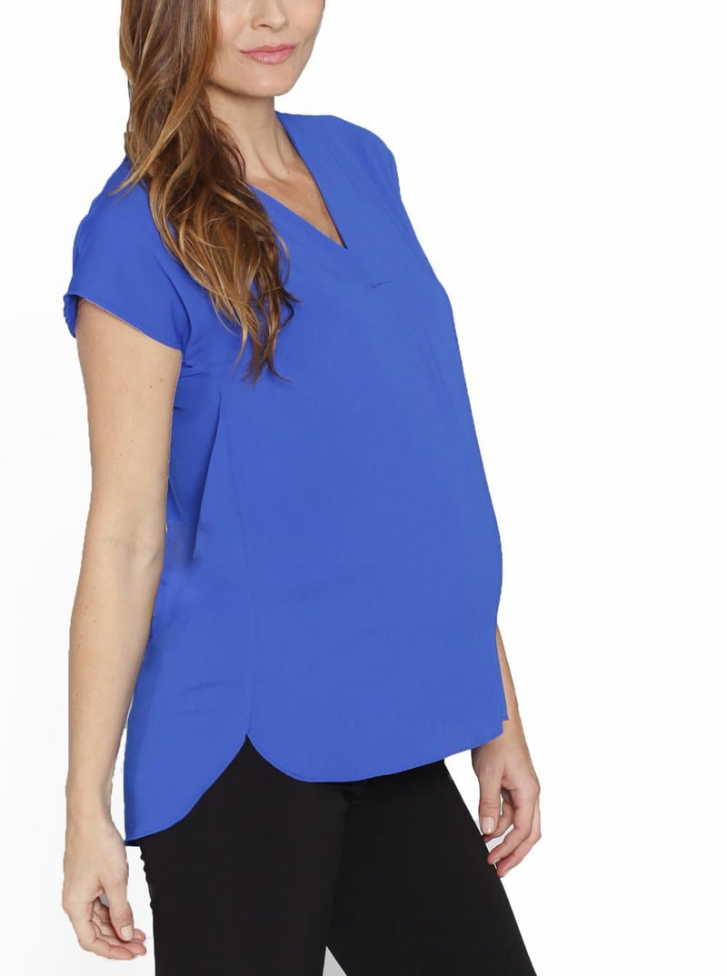Angel Maternity Relax Fit Short Sleeve Work Blouse - Blue