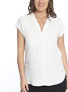 Angel Maternity Relax Fit Short Sleeve Work Blouse - White