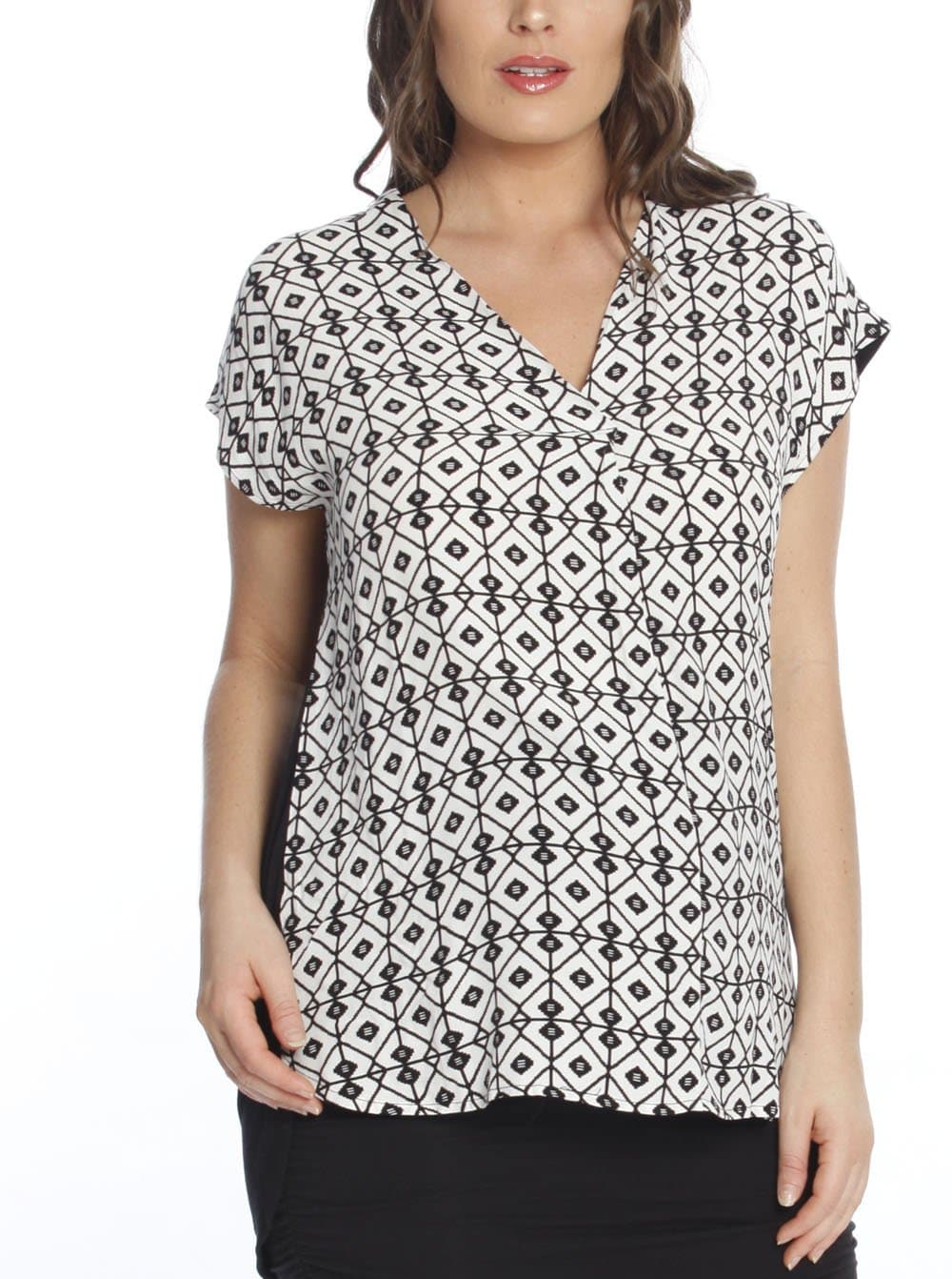 Maternity Relax Fit Short Sleeve Work Blouse - Print/ Black