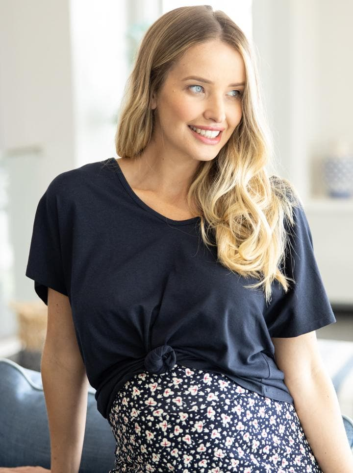 Maternity Loose Fit Swing Top in Navy and White