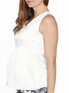 Maternity Sleeveless Pure Silk Dressy Top - White - Angel Maternity - Maternity clothes - shop online