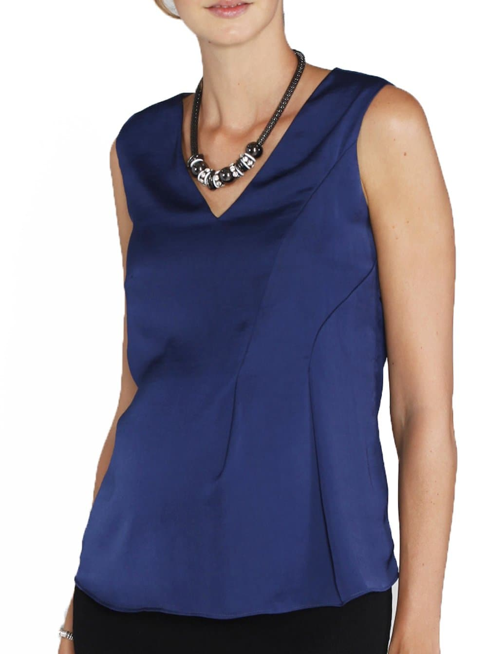 Maternity Sleeveless Chiffon Dressy Silk Top - Navy - Angel Maternity - Maternity clothes - shop online
