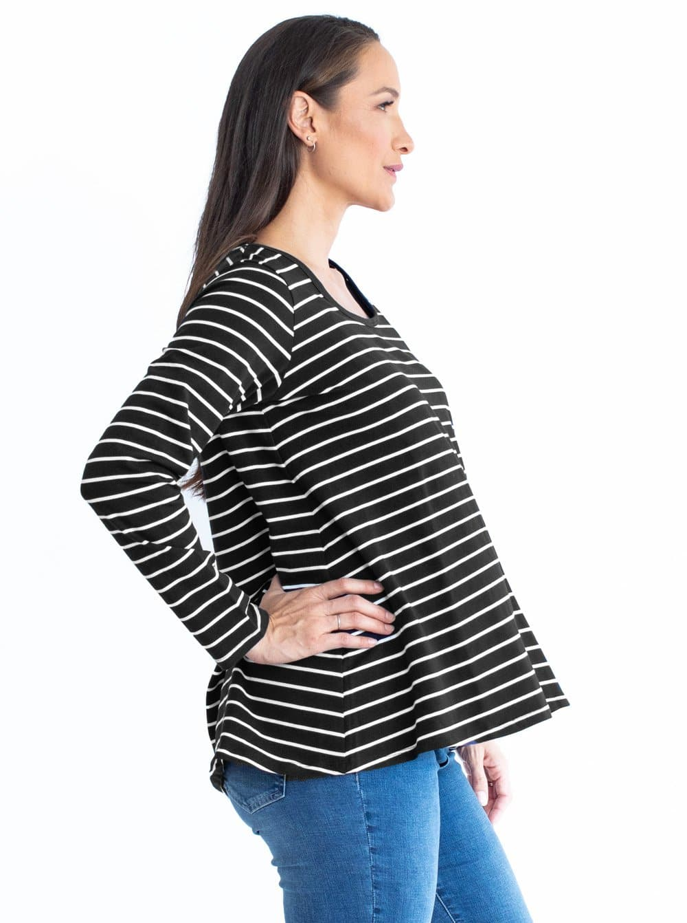 Maternity Cotton Swing Long Sleeve Tee Nursing Top - Stripes
