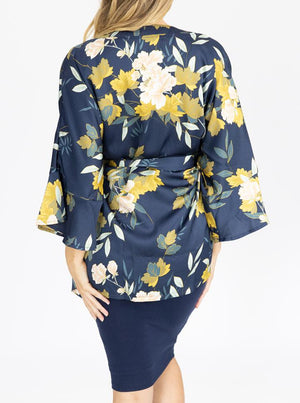 Maternity Blooming Sateen Nursing Wrap Top - Floral back
