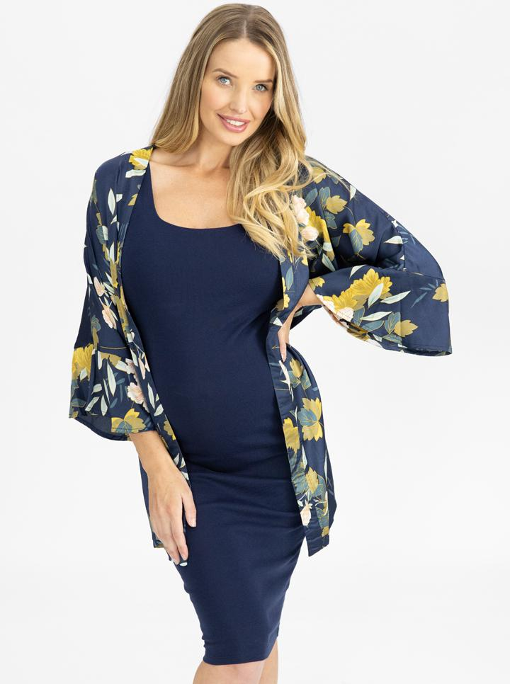 Maternity Blooming Sateen Nursing Wrap Top - Floral