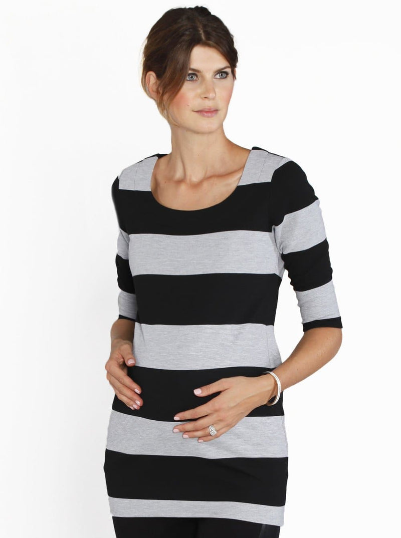 Angel Maternity Tunic Long Winter Top - Grey Stripes
