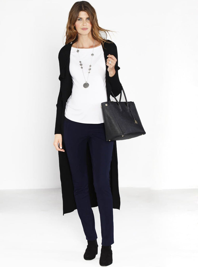 Maternity Luxe Long Knitted Tie Cardigan - Black