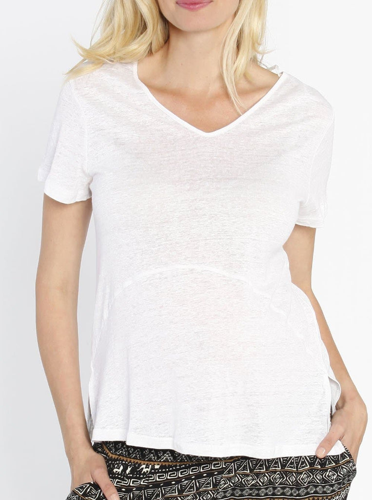 4512924125ba2 Summer Linen V-Neck Blouse Top- White – Angel Maternity
