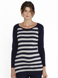 Maternity Knitted Winter Long Sleeve Top - Navy & Grey Stripes - Angel Maternity - Maternity clothes - shop online