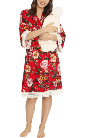 3 Piece Hospital Pack: Robe + Nursing Dress + Baby Wrap