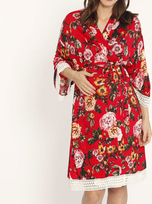 Nursing Dress + Robe + Free Baby Wrap - Red Floral Hospital Pack