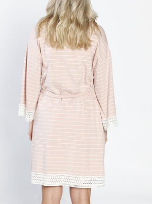 Ruby Joy Sleep Robe + Matching Baby Wrap  - Pink Stripes back