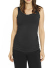 Maternity Bamboo Fitted Tank with Side Ruching - Charcoal Black best maternity online store