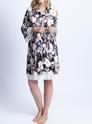 Hospital Pack: Nursing Dress + Robe - Pink Floral