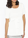 Maternity Short Sleeve Work Top with Tie Waist - Off White - Angel Maternity - Maternity clothes - shop online