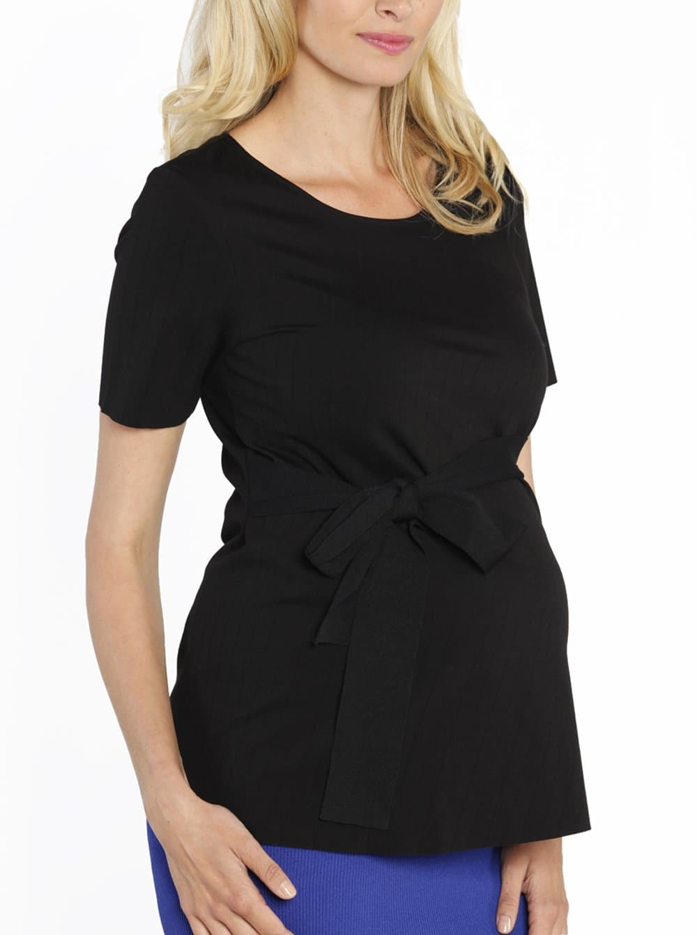 Maternity Short Sleeve Work Top with Tie Waist - Black - Angel Maternity - Maternity clothes - shop online
